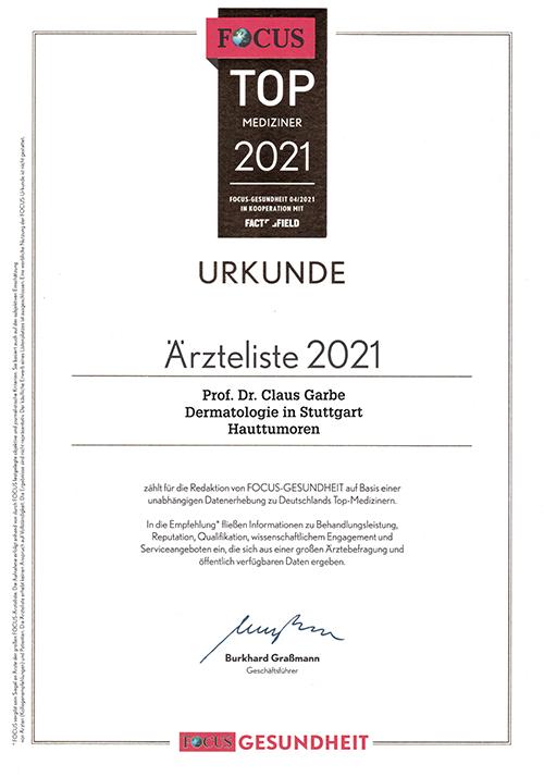 Urkunde - Ärzteliste 2021 - Prof. Dr. Garbe